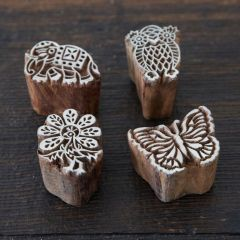 Paper High Assorted Wooden Stamps Animals Set of 4