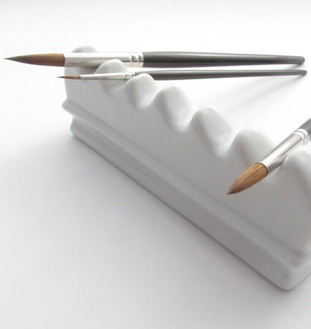 Ceramic Brush Rest and Brushes