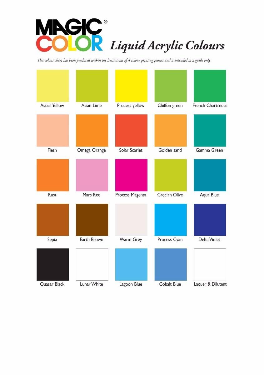 Magic Color Acrylic Ink Colour Chart