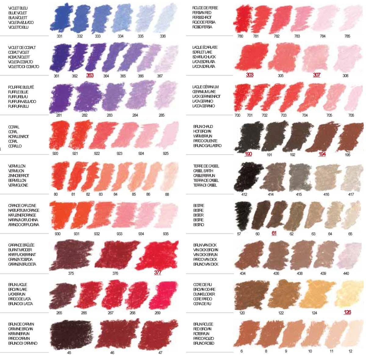 Sennelier Soft Pastels Colour Chart