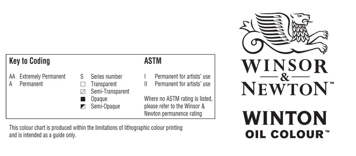 Winsor and Newton Winton Oil Paint Colour Chart Key