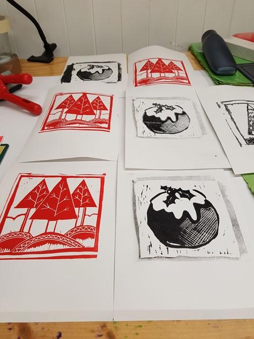 Pen and ink linocut block print card
